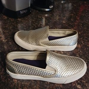 Sperry gold slip on sneakers 5.5